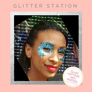 glitter station party for a wedding