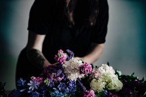 fresh flower crown station for a wedding